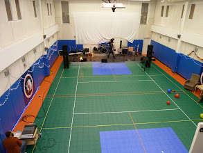 Photo: Band setting up and sound check in the Gym.