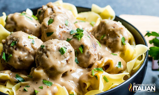 Bowl of Creamy Swedish Meatballs