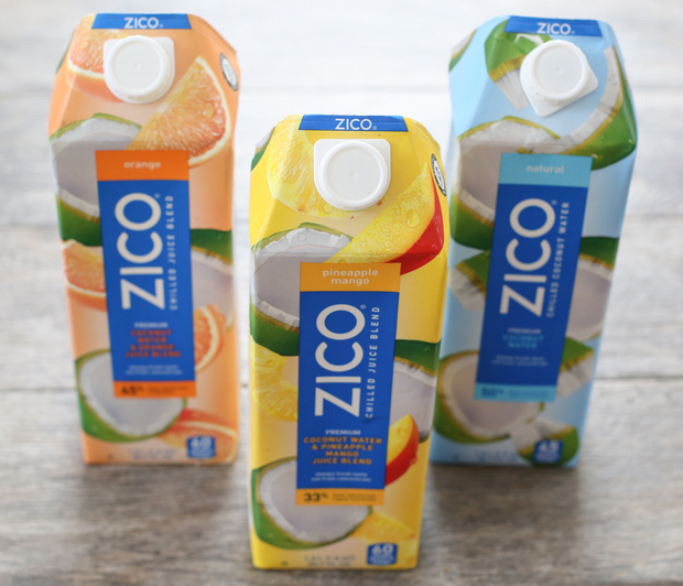 photo of three containers of zico chilled juices