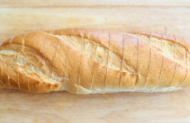 overhead photo of the bread to show how it's sliced