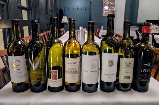 BCWAS Merlot Blind Tasting wines
