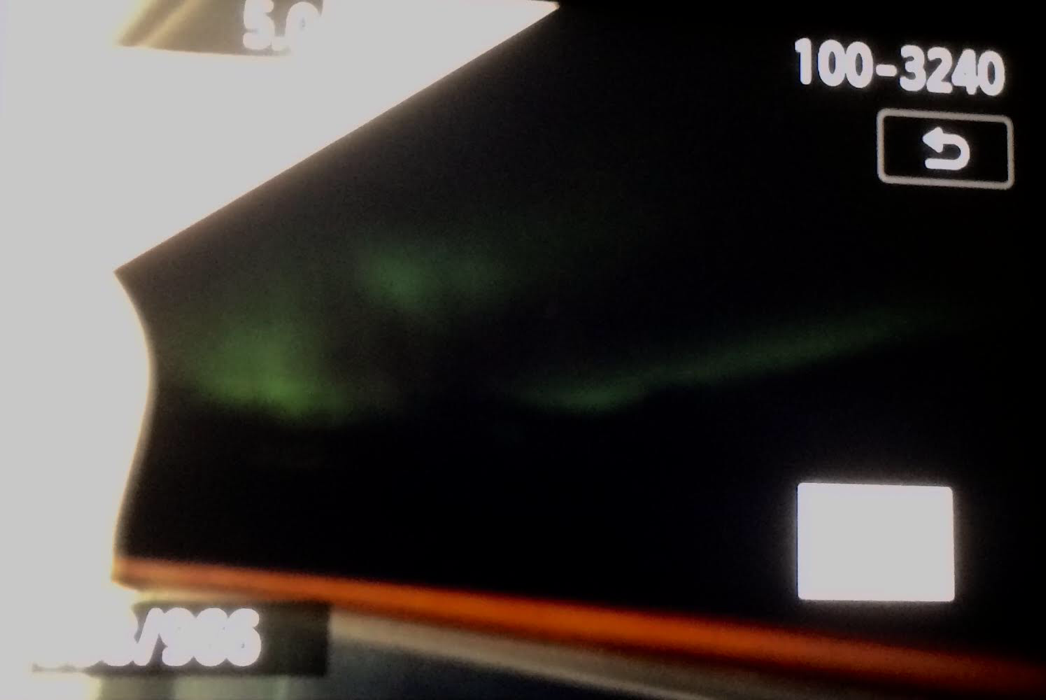 Screenshot of the DSLR Liveview 10-second exposure showing green northern lights (Source: Palmia Observatory)