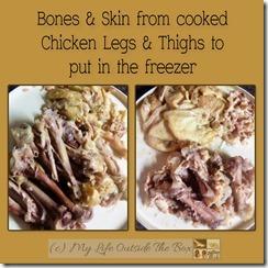 Chicken bones and skin