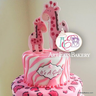 girlu0027s two tier white pink and black unique animal print baby shower cake with hand painted cheetah print fondant zebra stripes and edible giraffe topper