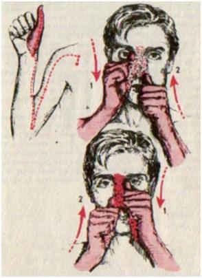 Растирание обратной стороной больших пальцев крыльев носа