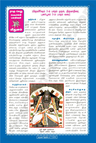 Complete and Full Rahu Kethu Peyarchi Palangal - Mithunam