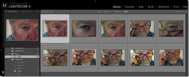 Getting a set of self portrait in lightroom with my tethered cannon