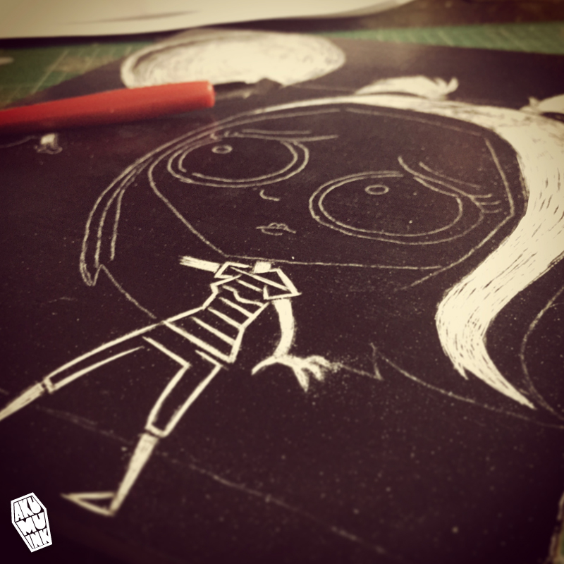 scratchboard art, scratchboard artist, akumuink art, scratch art, scratchy art, nightmare art, zombie art, cute zombie art, cute creepy art, kawaii goth, goth art, cute goth art