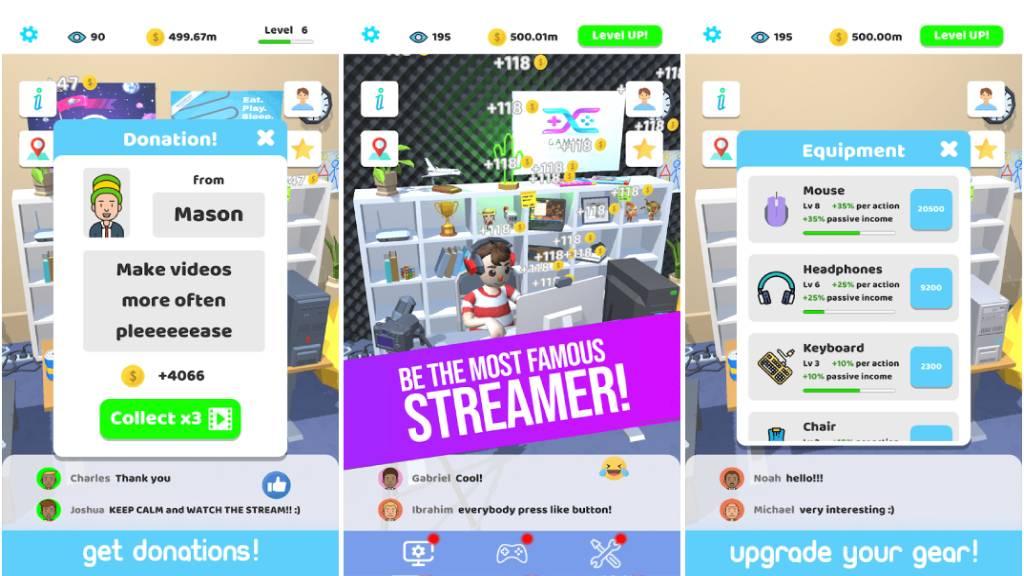 تحميل لعبة Idle Streamer مهكرة اخر إصدار للأندرويد