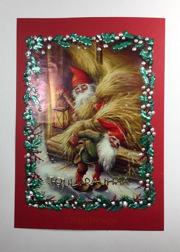lahjapaperi kohokuvioliima joulukortti SapiDesign