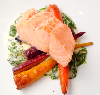 Poached salmon wish cafe