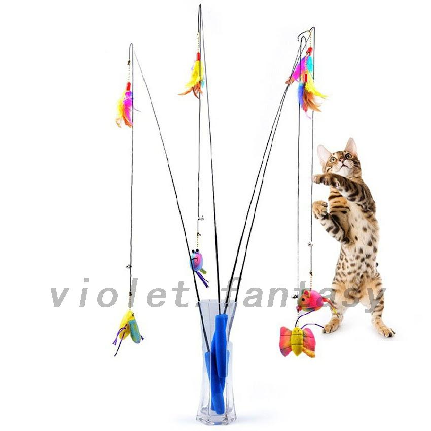Telescopic fishing rod cat toys three cat for the first for Cat fishing pole