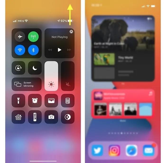 تم فتح مركز التحكم في النسبة المئوية لبطارية iPhone 12