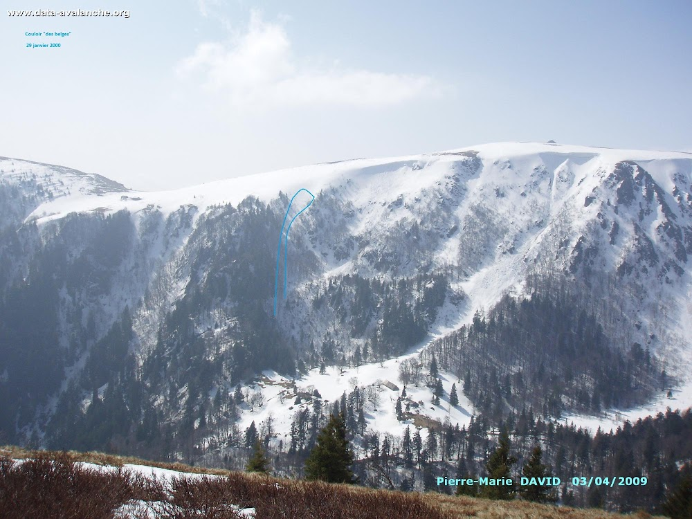 """Avalanche Vosges, secteur Hohneck, Schaeferthal - """"Couloir des Belges"""" - Photo 1 - © David Pierre-Marie"""