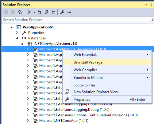 Opción uninstall package en Visual Studio 2015