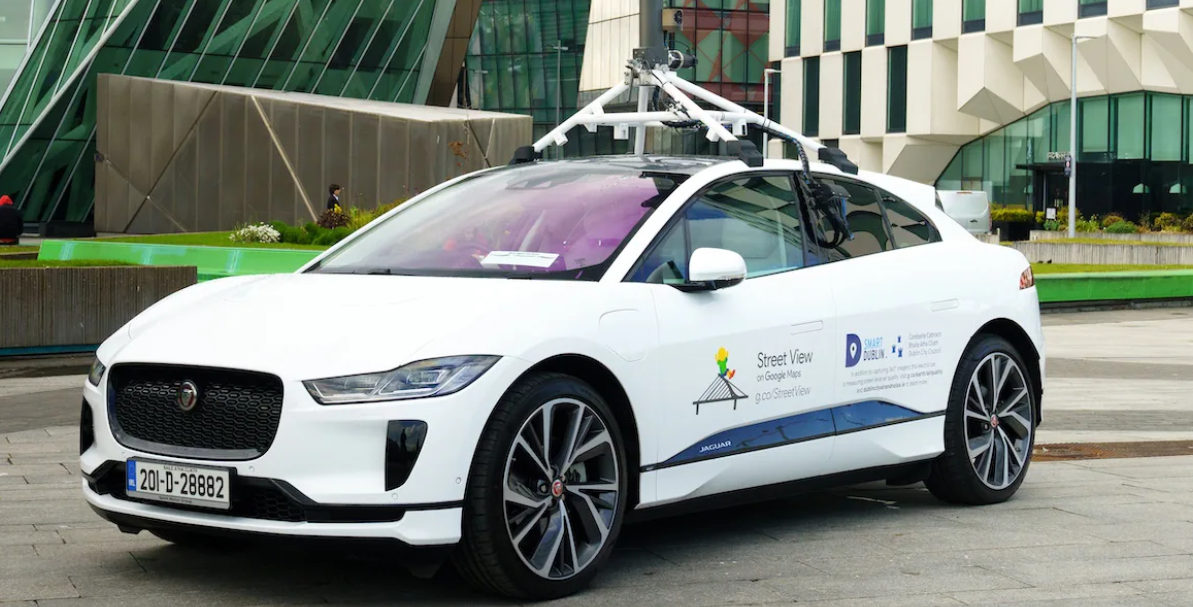 The first all-electric google streetview car in Dublin made its debut at Google today.