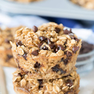 Chocolate Chip Baked Oatmeal Muffins.