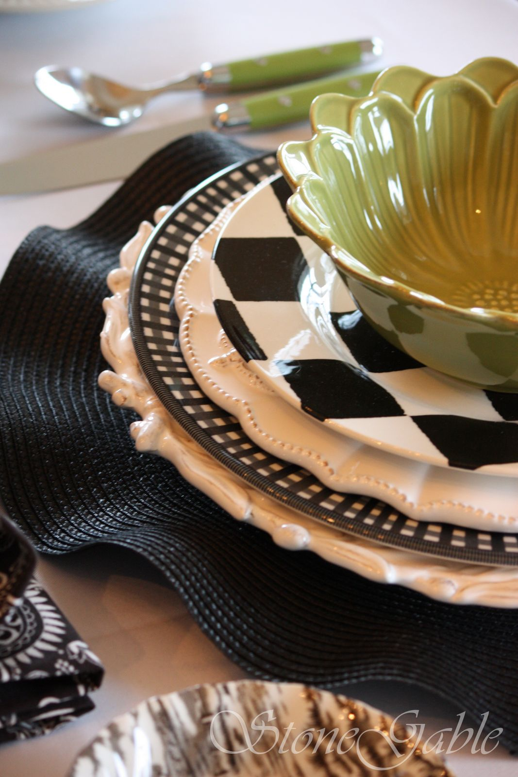 & Black And White And... OKAY Green Too Tablescape. - StoneGable