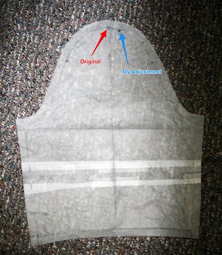 "Marfy 2204 forward shoulder adjustment (rotated sleeve back 3/4"")"