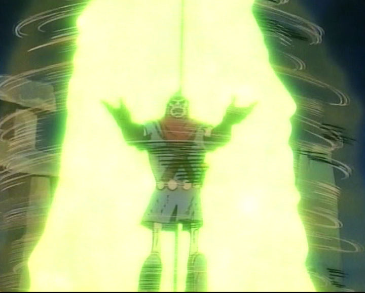 Dekkion in a green glowing column.