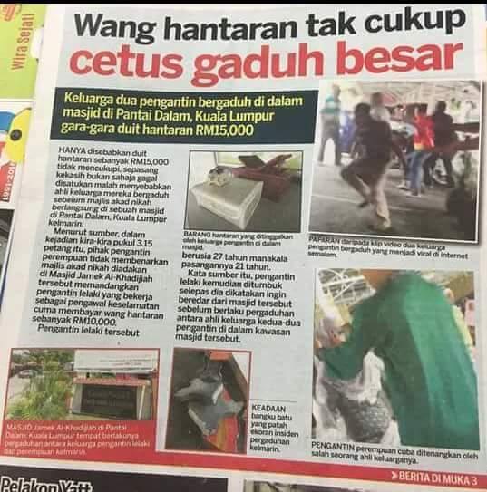 Gaduh Wang Hantaran Tak Cukup 15K Dalam Masjid
