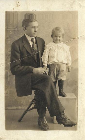 Postcard Man and boy DL ant