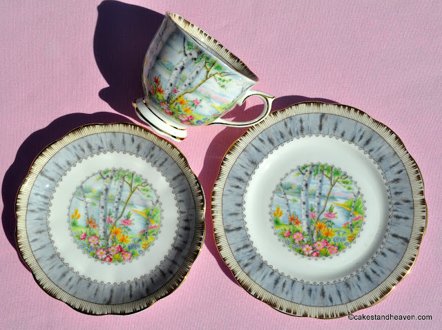 Royal Albert Silver Birch 1930s teacup trio