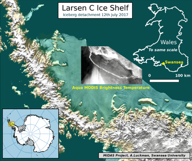 Satellite view of the Larsen C Ice Shelf detaching to form a trillion-ton iceberg on 12 July 2017. The iceberg would barely fit inside Wales. Graphic: Adrian Luckman / MIDAS