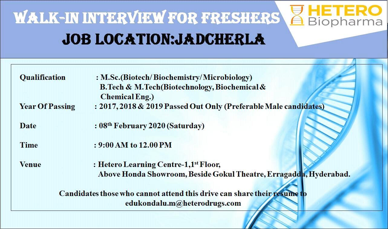 HETERO Biopharma - Walk-In Interviews for Freshers on 8th Feb' 2020