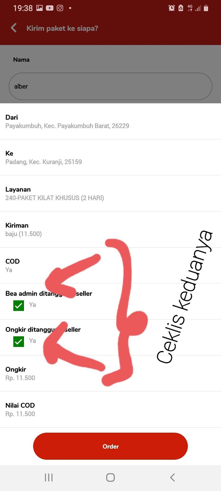 Cara COD ongkir dengan Pos Indonesia