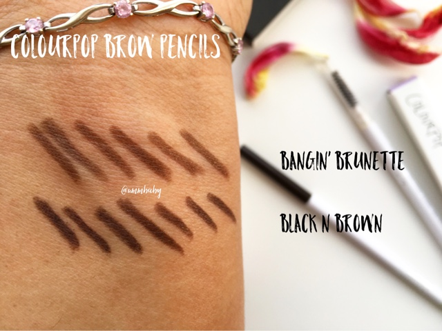 colourpop brow pencil swatches nc40 medium skin, colourpop brow pencil black n brown vs bangin brunette swatches