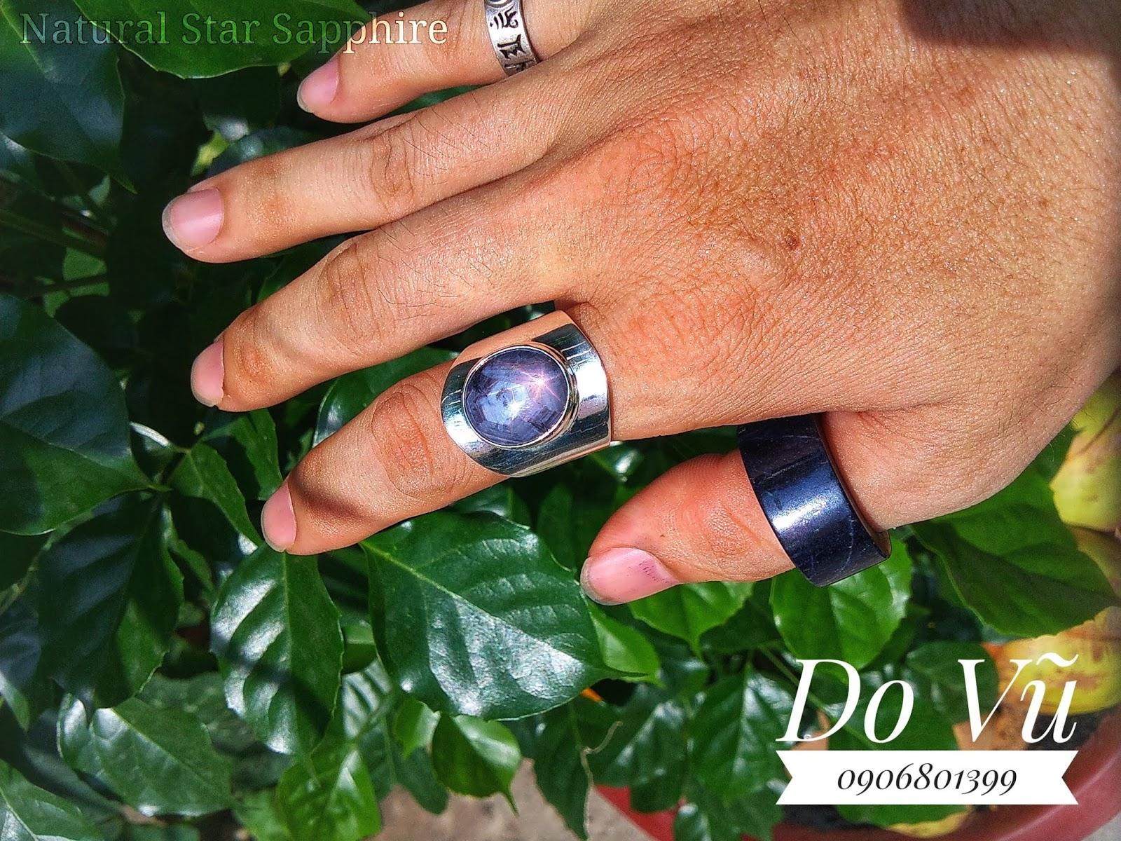 Nhẫn đá quý Sapphire thiên nhiên lên sao đồng freesize