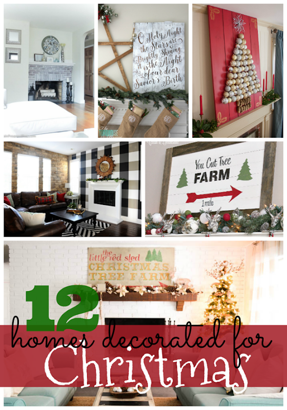12 Homes Decorated for Christmas at GingerSnapCrafts.com #forthehome #Christmas #homedecor