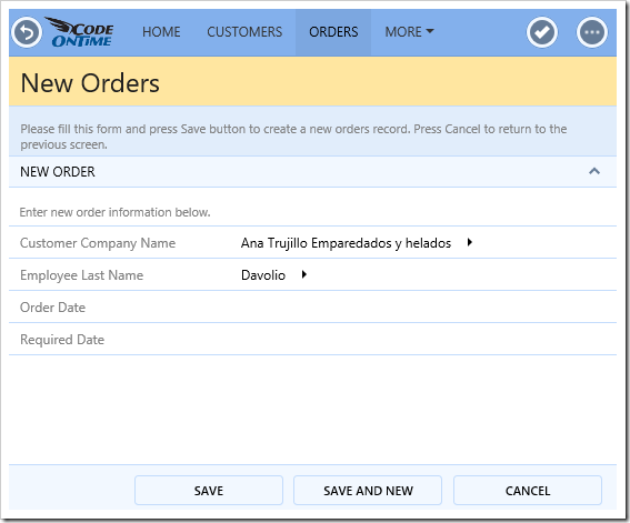 When Order Date is not set, ShippedDate and ship info are hidden.