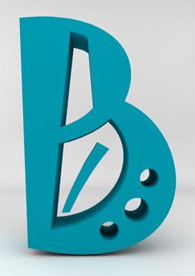lettre 3D homme joker turquoise - B - images libres de droit