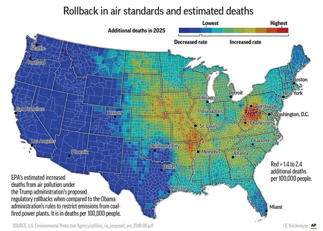 Rollback in air standards and estimated deaths in the U.S., additional deaths in 2025 caused by Trump rollbacks in pollution controls. Data: EPA. Graphic: Ellen Knickmeyer / AP