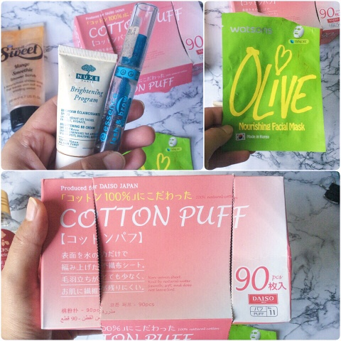 daiso, daiso cotton puff, nuxe, essence, watsons, facial masks