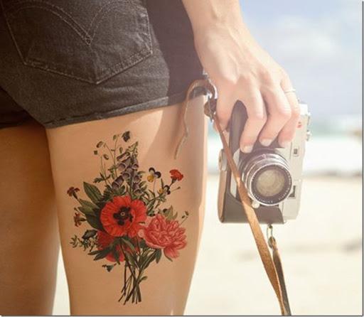 Vintage bouquet de la cuisse tatouage. vintage_bouquet_de_la_cuisse_tatouage