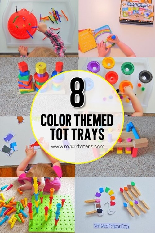 These color themed tot school trays are great for fine motor practice for the littlest learners. Toddlers and preschoolers will enjoy learning their colors with these hands on learning activities. Learning through play is the best way to learn for toddlers and preschoolers. Each new color tot tray became my new favorite.