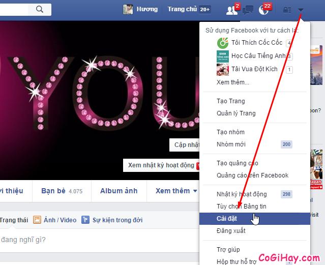 Vào phần cài đặt Facebook