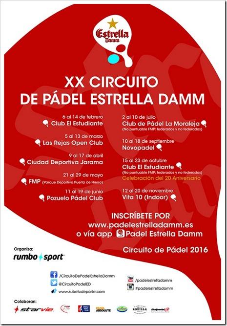 Calendario XX Circuito de Pádel Estrella Damm 2016 TODAS LAS PRUEBAS