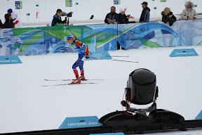 The automated camera tracking a Russian skiier