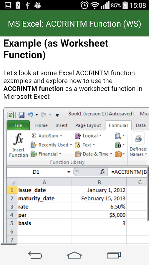 Guide Functions in Excel- screenshot