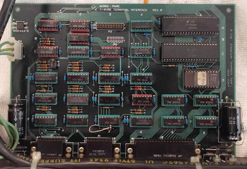 This 7-wire Terminal Interface board was used by Xerox PARC to connect a keyboard/display/mouse to a remote Dorado minicomputer