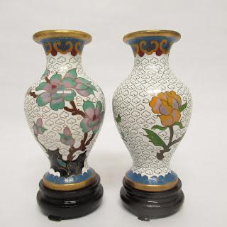 Cloisonné  Miniature Vase Pair
