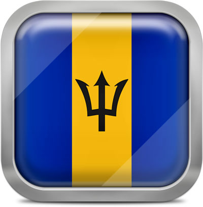 Barbados square flag with metallic frame