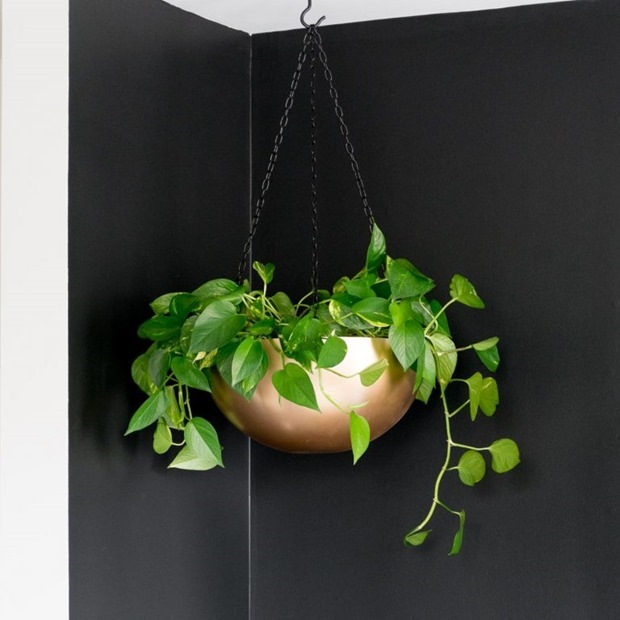 DIY Stainless Steel Bowl Hanging Planter @ By Brittany Goldwyn