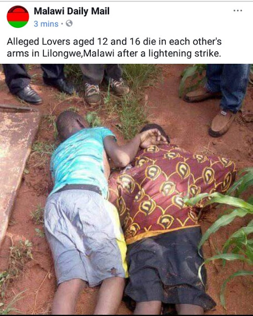Thunder Kills Malawian Lovers Aged 12 & 16 As They Die In Each Other's Arms