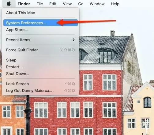 لقطة شاشة لشاشة Mac تعرض تفضيلات النظام