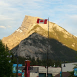 Canadian flag flying proudly in Banff, Alberta in Calgary, Alberta, Canada